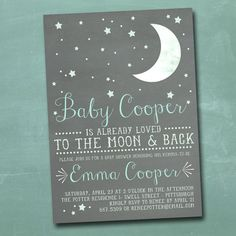 To the Moon and Back 5x7 DIY Printable Baby Shower Invitation