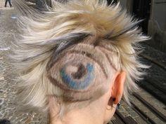 "Hairport Salon Lisbon, Portugal/ ""the eye"" by wip-hairport (hair cut / corte de cabello) Weird Haircuts, New Haircuts, Mohawk Hairstyles, Trendy Hairstyles, Extreme Hair, Pinterest Hair, Shaved Head, Crazy Hair, Bad Hair Day"