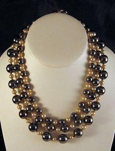 Hattie Carnegie Faux Pearl Faux Hematite Triple Strand Necklace on Etsy