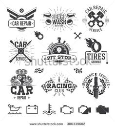 Illustration about Typographic Car service Labels, Logos and Emblems. Illustration of motorcycle, energy, motor - 59561750 Automotive Seat Covers, Automotive Logo, Automotive Detailing, Automotive Upholstery, Tatuajes New School, Warrior Logo, Logo Design, Checkered Flag, Flag Vector