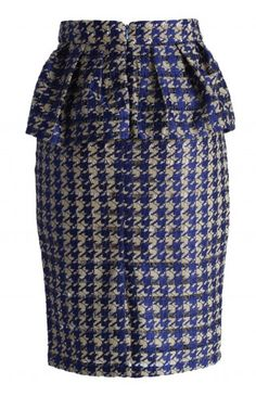 Houndstooth Cutout Peplum Pencil Skirt - Retro, Indie and Unique Fashion