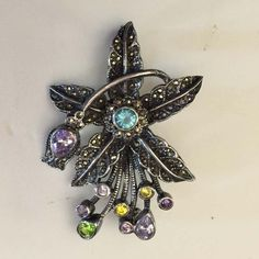 Art Nouveau Sterling Silver with Marcasites & Crystals Brooch, Beautiful by SweetBettysBling on Etsy
