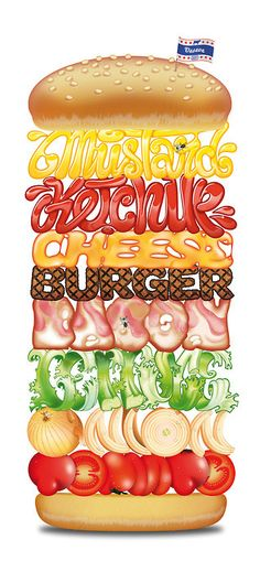 burger anatomy  - eten  - typografie  geeft product weer