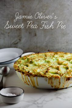Delicious, creamy fish pie with a sweet pea potato topping.