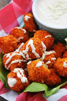 Crispy and spicy buffalo-flavored popcorn chicken! Baked - not fried! They require just a few ingredients and only 30 minutes!