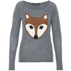 Hallhuber Cashmere Jumper With Fox Feature ($165) ❤ liked on Polyvore featuring tops, sweaters, shirts, silver, women, fox sweater, cashmere tops, cashmere jumper, fox jumper and jumpers sweaters