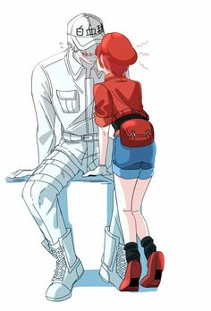 hataraku saibou wbc x rbc rbc x wbc ; rbc x wbc comic ; rbc x wbc anime ; rbc x wbc family ; wbc x rbc lemon ; hataraku saibou wbc x rbc ; wbc x rbc cells at work ; rbc and wbc Otaku Anime, Art Anime, Manga Anime, Manga Girl, Anime Girls, Awesome Anime, Anime Love, Blood Anime, White Blood Cells