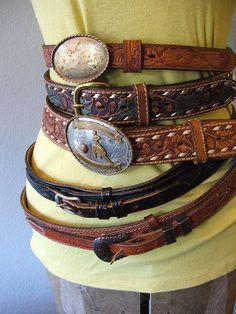 vintage belts at vintagebutterfly94 #tooled #belt