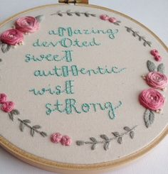 Mother Hoop Art // 6 Hand Embroidery // Mother's by AlleycatandCo