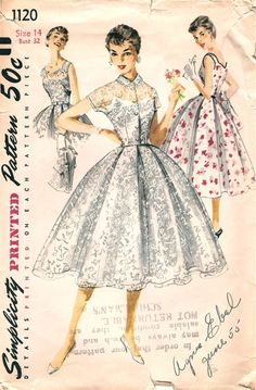 Vintage Fifties Sewing Pattern from Simplicity 1120 Dress Size 14 1950s Dress Patterns, Dress Sewing Patterns, Vintage Sewing Patterns, Pattern Sewing, Pattern Dress, Jacket Pattern, Moda Vintage, Vintage Mode, Vintage Outfits