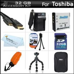 """32GB Accessories Kit For Toshiba Camileo BW10 Waterproof HD Video Camera Includes 32GB High Speed SD Memory Card + Extended Replacement (900 maH) PX1686 Battery + Ac/Dc Travel Charger + Mini HDMI Cable + Hard Case + FLOAT STRAP + 7"""" Flexible Tripod + More (Electronics)  http://www.amazon.com/dp/B005LRSIT2/?tag=goandtalk-20  B005LRSIT2"""