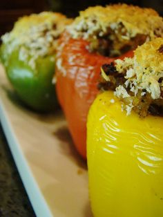 Vegetarian Stuffed Peppers with Couscous, Roasted Eggplant and Zucchini, and Feta