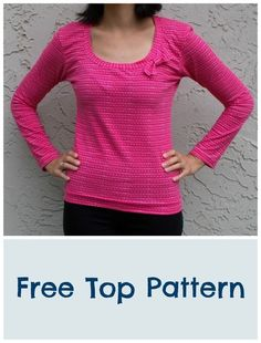 Sewing Top Broad neck Top pattern: a free pattern and tutorial Sewing Patterns Free, Free Sewing, Clothing Patterns, Sewing Tutorials, Tutorial Sewing, Shirts & Tops, Diy Clothing, Sewing Clothes, Top Pattern