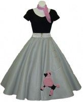 poodle skirt... super cute outfit for the party... an idea :)  Yes we will be dressing up!