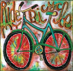 Bicycle Art Canvas by AllenDesignsStudio on Etsy