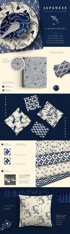 Graphic Design - Graphic Design Ideas - Hand Drawn Japanese Patterns by Youandigraphics on Creative Market Graphic Design Ideas : – Picture : – Description Hand Drawn Japanese Patterns by Youandigraphics on Creative Market -Read More – Graphisches Design, Logo Design, Branding Design, Design Ideas, Creative Design, Japan Design, Japan Graphic Design, Graphic Art, Graphic Designers
