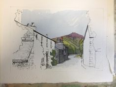 From my sketchbooks& The online home of John Harrison, artist: purveyor of line drawings with watercolourStaithes down the hill sep Grasmere demo piece fo Watercolor Painting Techniques, Watercolor Sketchbook, Sketchbook Drawings, Pen And Watercolor, Art Sketches, Watercolor Paintings, Art Drawings, Watercolours, Painting Art