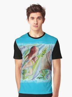 'Mermaid Ray' Graphic T-Shirt by jurast Zipper Pouch, Chiffon Tops, Duvet Covers, Tank Man, Mermaid, Tote Bag, Mens Tops, T Shirt, Stuff To Buy