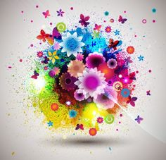 Abstract Flowers Creative vector 01
