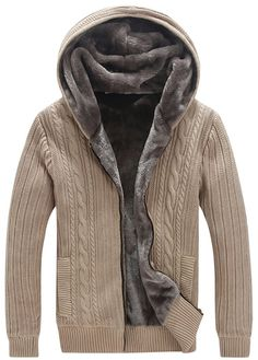 Men's Big&Tall Cardigan Zip-Up Sweater Hooded Jumper with Thermal Lining Khaki 4XL
