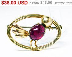 Gold Filled Bird Pin Signed Van Dell 1/20th 12K G.F. - Pinkish Purple Glass Cabochon - Art Deco Birds Brooch - Vintage 1940s Figural Birds