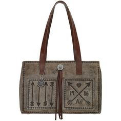 American West Cross My Heart Shopper Tote With Outside Pocket -... ($176) ❤ liked on Polyvore featuring bags, handbags, tote bags, brown, brown leather purse, brown tote bags, leather man bags, leather tote shopper and leather tote