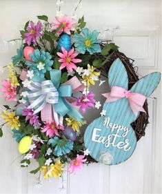 Wreaths For Front Door, Door Wreaths, Front Doors, Easter Wreaths, Spring Wreaths, Easter Crafts, Easter Decor, Easter Ideas, Pastel Blue