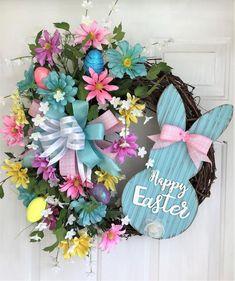 Diy Wreath, Door Wreaths, Spring Wreaths For Front Door Diy, Wreath Ideas, Pastel Blue, Pink Blue, Easter Wreaths, Fall Wreaths, Yellow Daisies