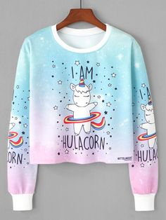 To find out about the Unicorn Print Sweatshirt at SHEIN, part of our latest Sweatshirts ready to shop online today! Girls Fashion Clothes, Teen Fashion Outfits, Girl Fashion, Girl Outfits, Kpop Clothes, Fashion Women, Fashion Dresses, Hoodie Sweatshirts, Sweatshirts Online