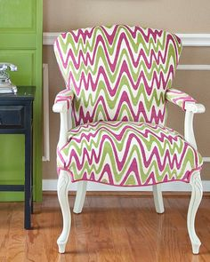 Accent Chair in Pink and Green Chenille by parsonsparlor on Etsy, $425.00