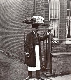 "A Muffin Man, c.1910, London~ Victorian/Edwardian households had many fresh foods delivered; muffins would be delivered door-to-door.""Have you seen the muffin man, the muffin man.Have you seen the muffin man who lives down Drury Lane."" ""The Muffin Man"" is a traditional nursery rhyme & children's song.Drury Lane is a thoroughfare in Westminster"