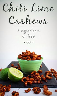 Chili lime cashews are a super easy Trader Joe's knock-off. They only have 5 ingredients and cost so much less than the pre-made kind! {More on Trading Healthy Vegan Snacks, Vegan Appetizers, Vegan Vegetarian, Appetizer Recipes, Vegan Food, Healthy Eating, Vegan Meals, Vegetarian Recipes, Clean Eating