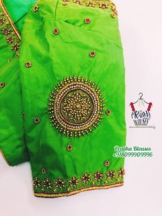 Simple Embroidery, Beaded Embroidery, Embroidery Designs, Wedding Saree Blouse Designs, Saree Blouse Neck Designs, Blouse Simple, Work Blouse, Saree Tassels, Bridal Silk Saree