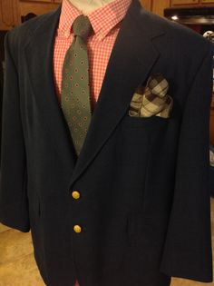 Navy blazer with brass buttons, gingham shirt, and vintage micro paisley tie. >>>PAIRING BY ZANDER-GREY.