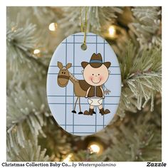 Christmas Collection Baby Cowboy Horse Ceramic Ornament Baby First Christmas Ornament, Baby Ornaments, Babies First Christmas, Christmas Cards, Cowboy Horse, Baby Co, Unique Photo, Picture Frames, Ceramics