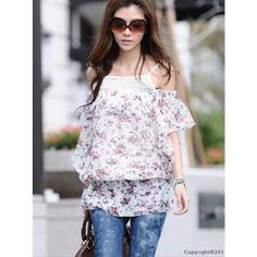 Blue New Summer Fashion Floral Two-Piece On Sale Women Chiffon Shirt... ($15) via Polyvore