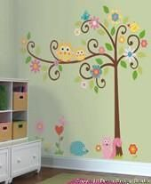 Scroll Tree Wall Stickers - Vinyl Decal Decoration