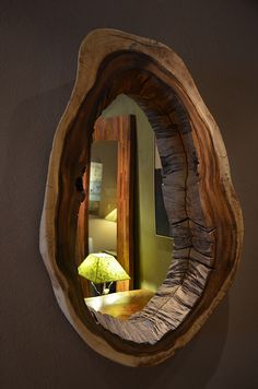 This live edge mirror is a unique way to show off a wood slab in your home.