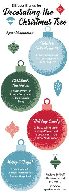 Great Blends for when you're Decorating the Christmas Tree. My favorite time of the year and these are some great blends created using Spark Natural Premium Essential Oils. #homefragrance #holidaysmells #ad #treedecorating #diffuserblends