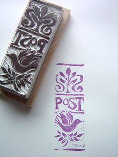 Post Pigeon Rubber Stamp Postal  Mail Art Miniature Block Print