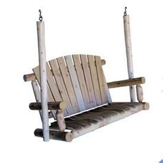 Lakeland Mills 2-Seat Wood Rustic Porch Swing