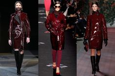 Fall 2012 Trend: Burgundy PVC raincoats  The surprise must-have of the season is both a major statement piece and totally practical: Meet the fall runways' ubiquitous burgundy PVC-coated raincoat. Warm, waterproof and stylish, it's hands down the outerwear of the season.  L-R: Alexander Wang, Diane von Furstenberg, Tommy Hilfiger Fall 2012's Most Wearable Fashion Trends: Glamour.com