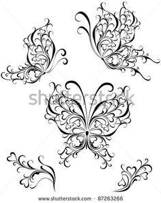 Vector set black white butterflies of a tattoo. Silhouette butterflies