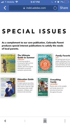 Advertise with Colorado parent for February camp guide issue. Plan in December!