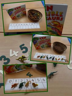 "Counting fun with the book, 'Ten Terrible Dinosaurs' from Rachel ("",) Dinosaurs Preschool, Dinosaur Activities, Preschool Themes, Counting Activities, Hands On Activities, Math Games, Early Years Maths, Early Years Classroom, Abacus Math"
