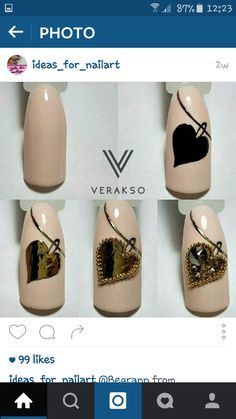 We all want beautiful but trendy nails, right? Here's a look at some beautiful nude nail art. Stylish Nails, Trendy Nails, Nail Art Diy, Diy Nails, Crome Nails, Nagel Bling, Valentine Nail Art, Nail Art Techniques, Heart Nails