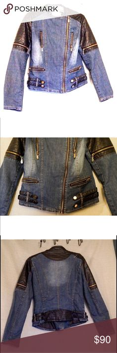 """PAPARAZZI Biker / Bomber """"Leather & Denim"""" Jacket This unique jacket brought to by Paparazzi by Biz is in VERY good condition. All zippers work as they should and as you can see it's beautifully detailed. Women's size Large, fits a little snug. I believe it's supposed to be, but one might say it's more on the Medium side if one doesn't feel comfortable wearing form fitting clothing. Style Number is 105-556  96.2% Cotton, 3.8% Spandex. Upper Sleeve, Neckline, Hem 100% PU PAPARAZZI Jackets…"""