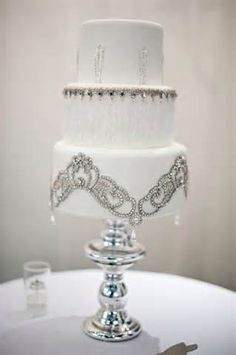 art deco wedding cake – beaded and bedazzled white wedding cake ‪#‎Whiteflash‬ ‪#‎MarkSchneider‬ ‪#‎DesignerRings