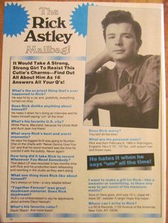 Rick Astley, Full Page Vintage Clipping, Rick Roll