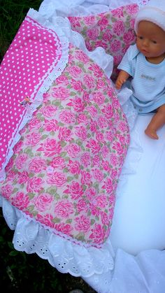 Doll pram cover & pillow by thefabricteapot